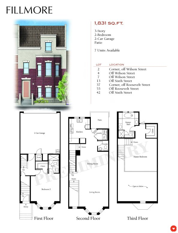 Gallery brownstones at hyde park tempe Fillmore design floor plans